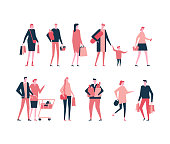 Shopping - flat design style set of isolated characters on white background. Cartoon women, men and children standing with their packages, trolley, baskets full of products
