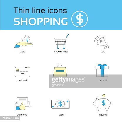 Shopping Icons Thin Line Set Collection : Vector Art