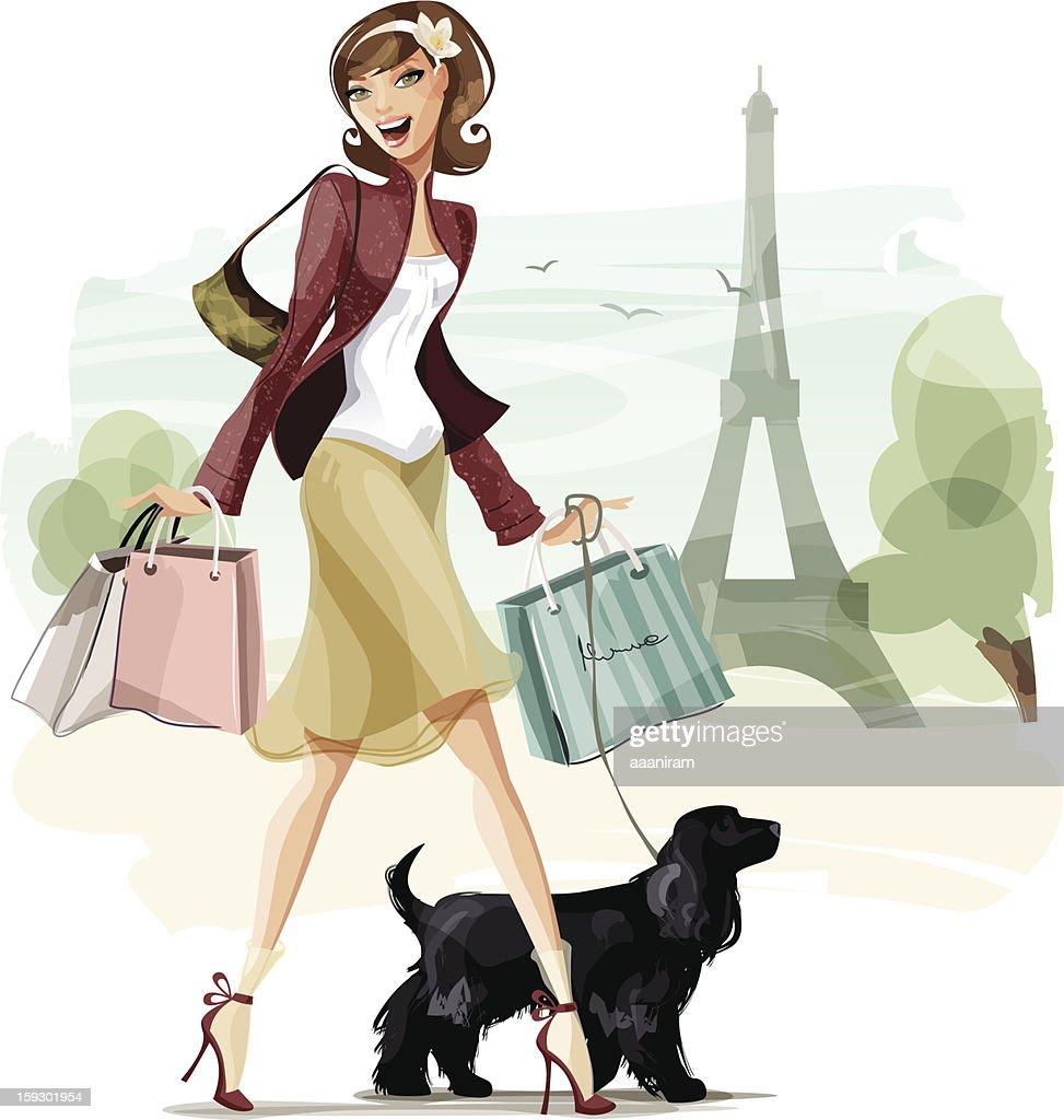 Shopping in Paris : Vector Art