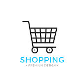 Shopping line icon. Ecommerce, e-commerce concepts. Black vector shopping cart icon isolated on white background