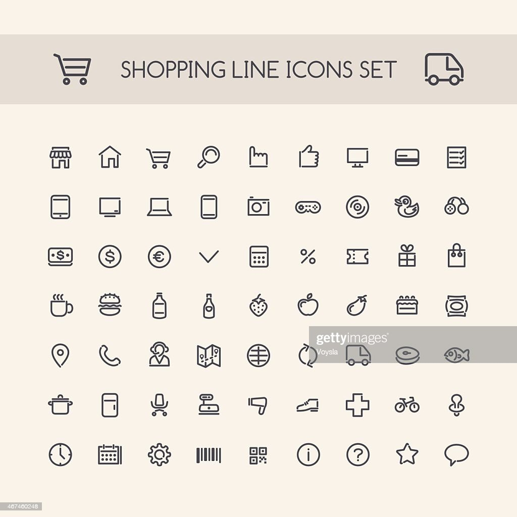Shopping Line Icons Set Black