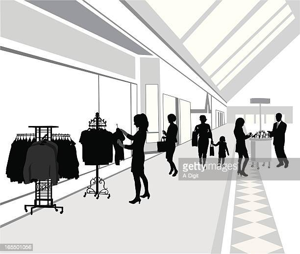 Shopping Mall Vector Silhouette