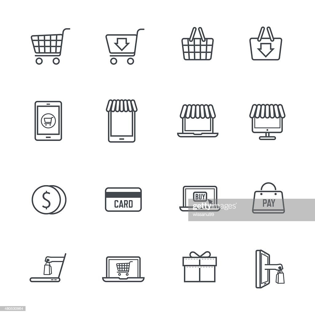 Shopping Online Icons : Vector Art