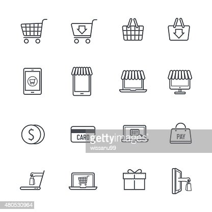 Icone per lo Shopping Online : Arte vettoriale