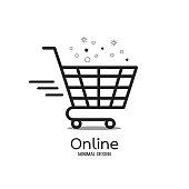 Shopping Online logo minimal design. Delivery concept. Vector illustration