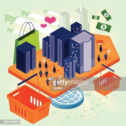 Shopping social city : Vector Art