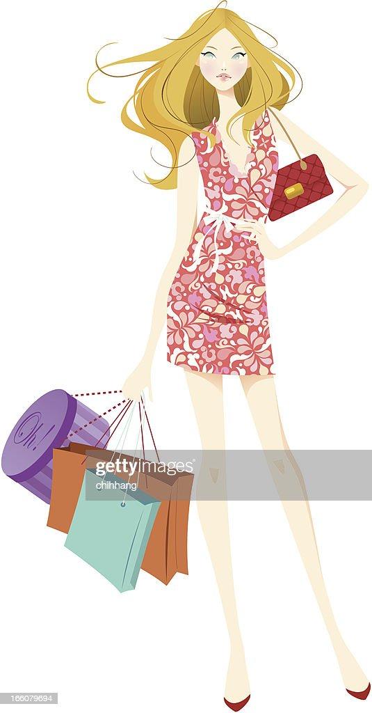 Shopping Teen Blonde : Vector Art