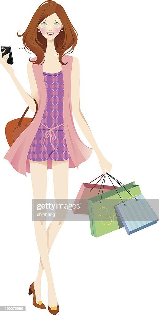 Shopping Teen : Vector Art