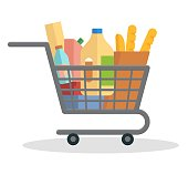 Shopping trolley full of food. Flat vector illustration