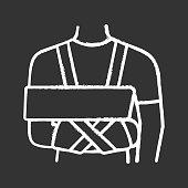 Shoulder immobilizer chalk icon. Sling and swathe. Broken arm, shoulder injury treatment. Arm fix brace. Vector