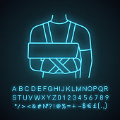 Shoulder immobilizer neon light icon with glowing alphabet, numbers and symbols. Sling and swathe. Broken arm, shoulder injury treatment. Arm fix brace