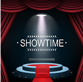 Vector illustration of Showtime banner with podium and curtain illuminated by spotlights