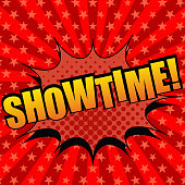 Showtime comic cartoon text. Pop-art style. The illustration with halftone effects and radial background with stars. Template for web and mobile applications