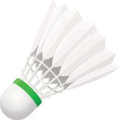 Vector illustration. Shuttlecock for badminton from bird feathers isolated on white background