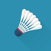 Shuttlecock for badminton, isolating icon in flat design with long shadow. Vector illustration. Sport equipment.