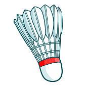 Funny red badminton shuttlecock - vector.