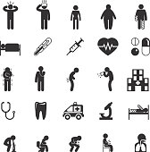 Sick icons. Sick people vector pictograms. Sick set icon, ill and sick sign, sick man icon illustration