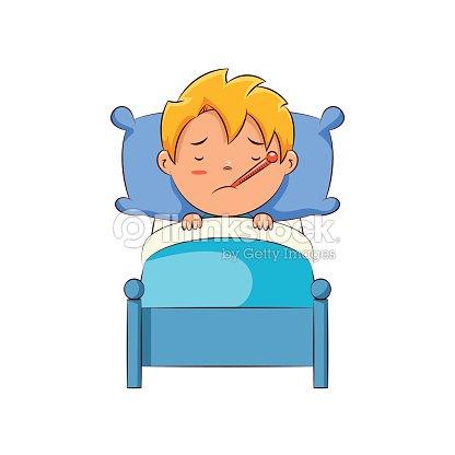 Sick kid in bed vector art thinkstock sick kid in bed vector art thecheapjerseys Choice Image