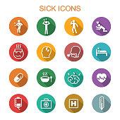 sick long shadow icons, flat vector symbols