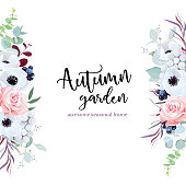 Side border frame with flowers and leaves. Pink rose, anemone, eucalyptus, agonis, brunia, black berry. Floral vector banner. Seasonal mood composition design. All elements are isolated and editable.