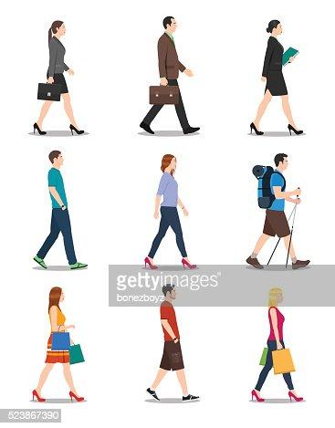 Vista laterale dell'uomo e donna a piedi : Arte vettoriale