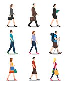 People walking illustration. No gradients used. High resolution JPG, PNG (transparent background) and AI files are included.