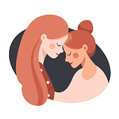 Side view of Two happy sisters hugging each other. Cute young mother embracing her daughter with love. Vector illustration isolated from white