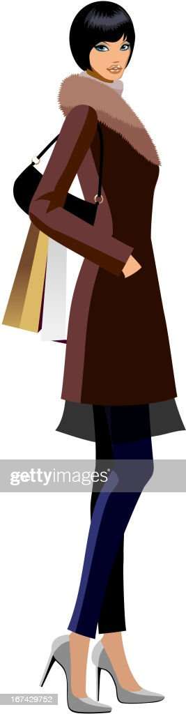 side view of woman standing : Vector Art