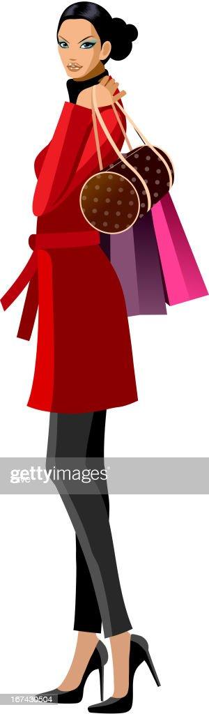 Vista lateral de mujer de pie : Arte vectorial