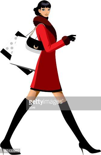 side view of woman walking : Vector Art