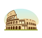 World sights. Travel to Europe. Architectural building, architectural monument of Ancient Rome, the famous building is the Colosseum. Modern vector illustration isolated on white background.
