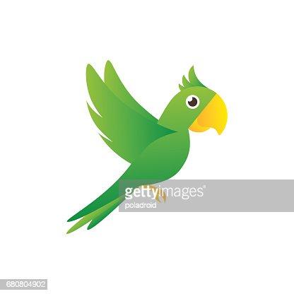 Sign flying green parrot : stock vector