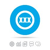XXX sign icon. Adults only content symbol. Copy files, chat speech bubble and chart web icons. Vector