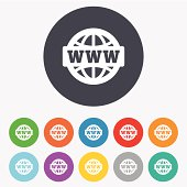 WWW sign icon. World wide web symbol. Globe. Round colourful 11 buttons. Vector