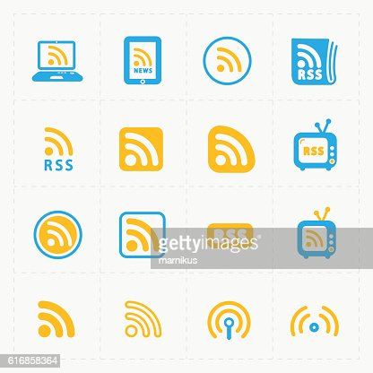 RSS sign icons. RSS feed symbols on White Background. : Vector Art
