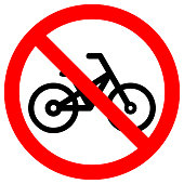 NO BICYCLE sign in crossed out red circle. Vector icon.