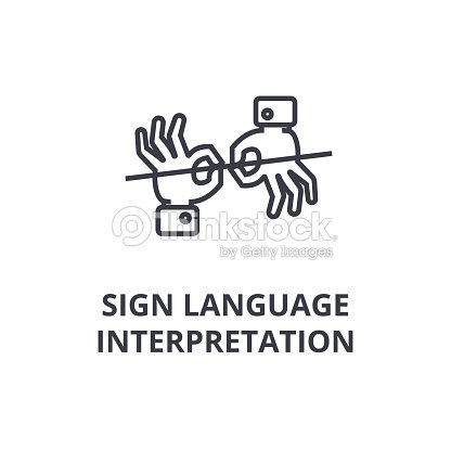 Sign Language Interpretation Line Icon Outline Sign Linear Symbol