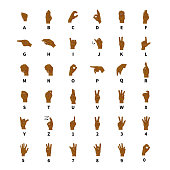 Sign language interpreter, full latin alphabet and numbers, black hands signs isolated on white