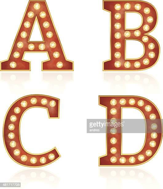 Señal de cartas con lámparas-A, B, C, D