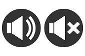 SOUND ON OFF sign. Loudspeaker icon in circle. Vector.