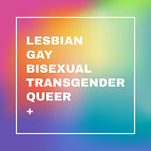 LGBTQ sign on a blurred rainbow mesh background. Conceptual design. Editable vector illustration. Lesbian Gay Bisexual Transgender Queer +