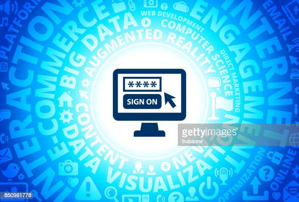 Sign On Icon on Internet Modern Technology Words Background