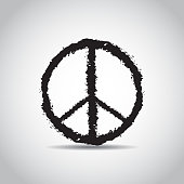 Sign pacifist. Peace symbol drawn by brush. Black Hippie sign on a white background. Isolated