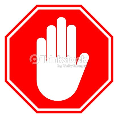 No Entry Sign Stop Hand Gesture In Red Octagon Vector Icon Vector