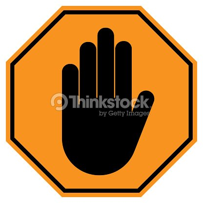 No Entry Sign Stop Hand Gesture In Yellow Octagon Vector Icon Vector