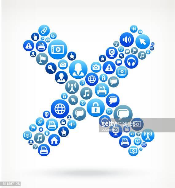 X-Schild-Technologie Internet und Media Blau Button-Muster