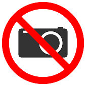 NO CAMERAS ALLOWED sign. Vector icon.