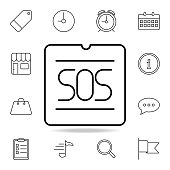 SOS signal icon. Element of simple icon for websites, web design, mobile app, info graphics. Thin line icon for website design and development, app development on white background on white background