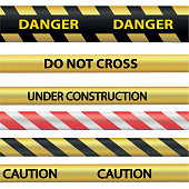 Signal warning tape. Isolated on white background. Technical works and construction works. Stock Vector.