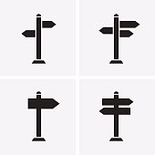 Signpost Icons. Vector for web